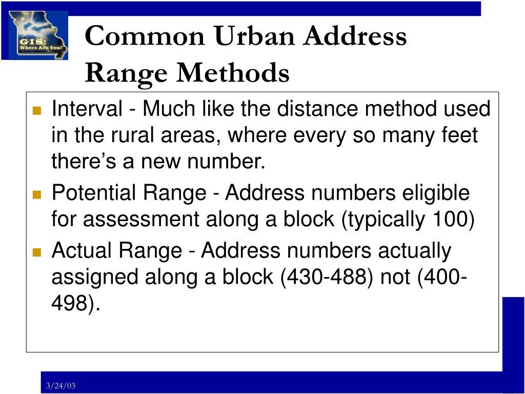 Common Urban Address Range Methods