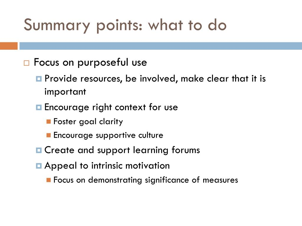 Summary points: what to do
