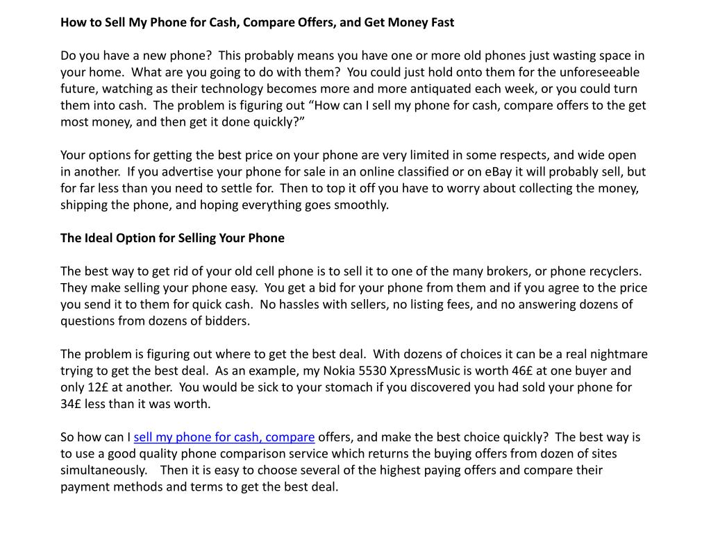 How to Sell My Phone for Cash, Compare Offers, and Get Money