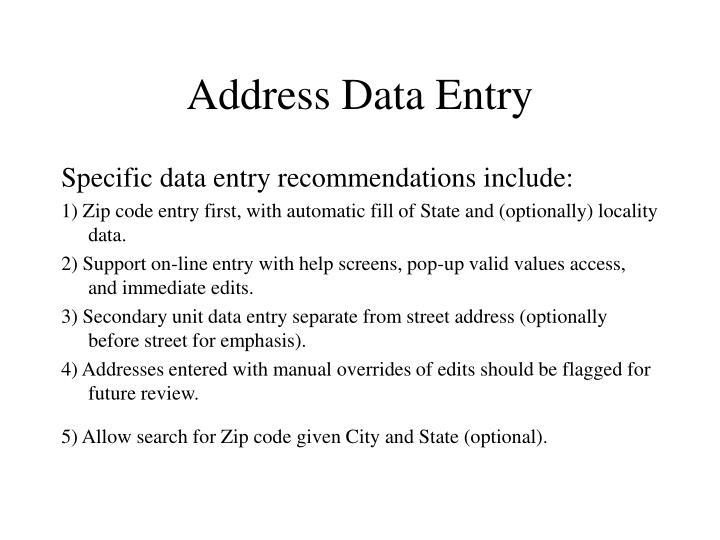 Address Data Entry