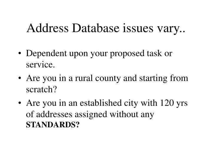 Address Database issues vary..