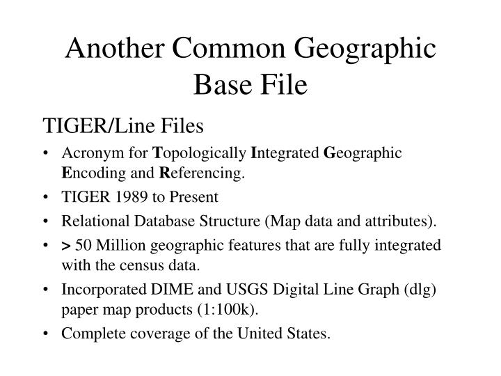 Another Common Geographic Base File