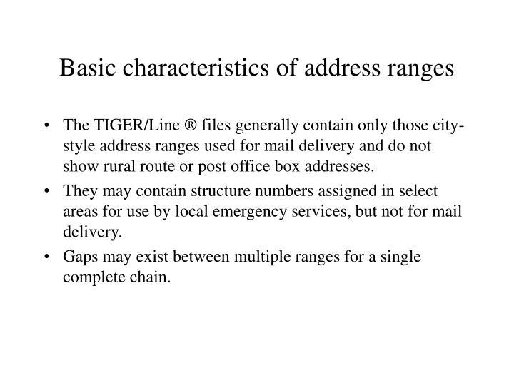 Basic characteristics of address ranges