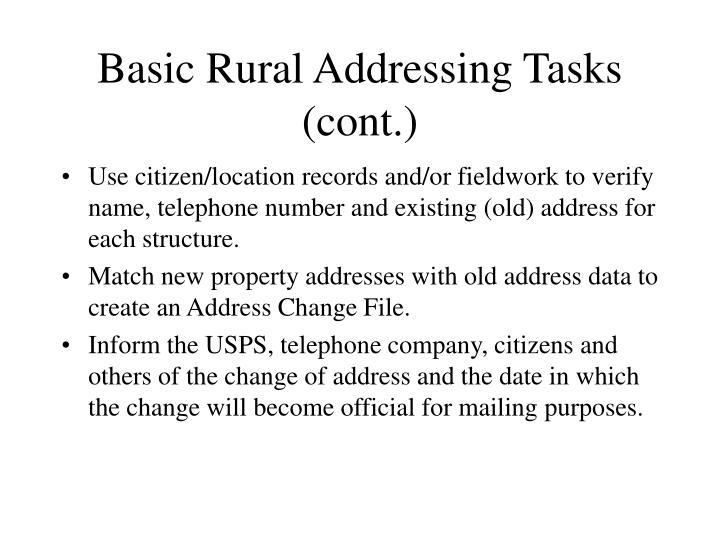 Basic Rural Addressing Tasks (cont.)