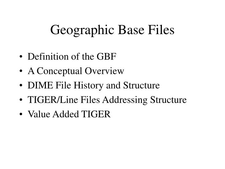 Geographic Base Files