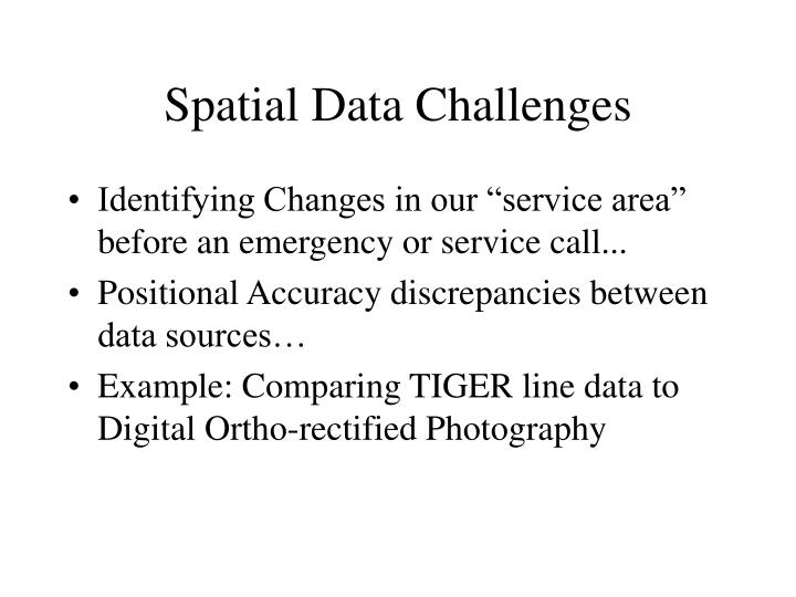 Spatial Data Challenges