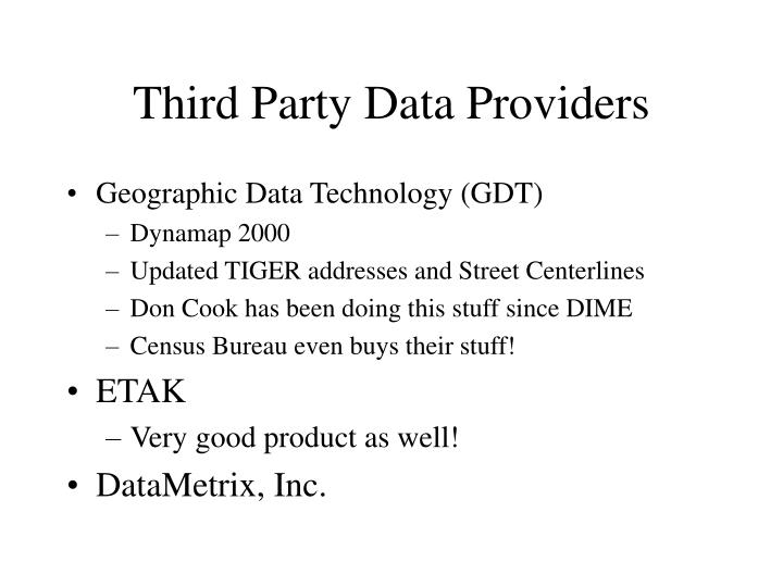 Third Party Data Providers