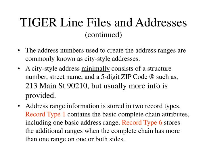 TIGER Line Files and Addresses
