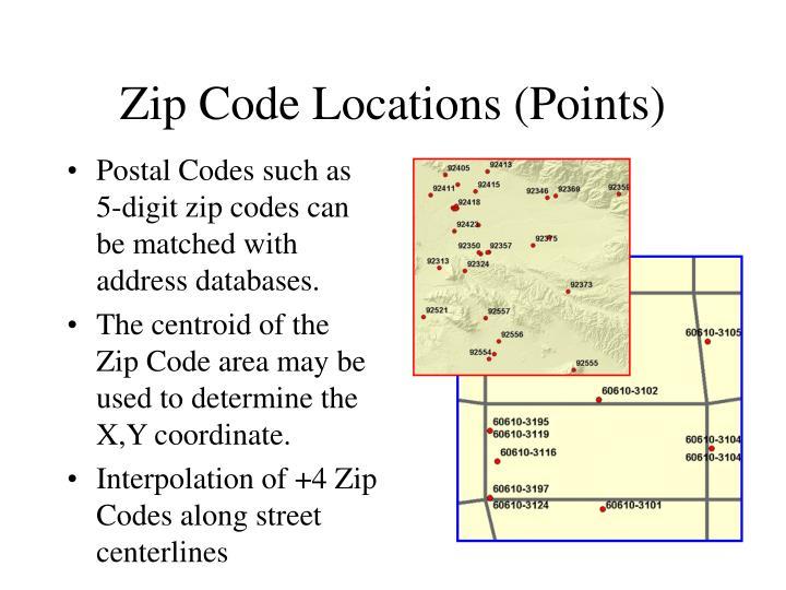 Zip Code Locations (Points)