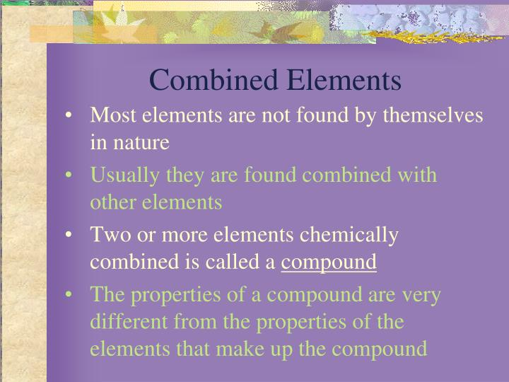 Combined elements