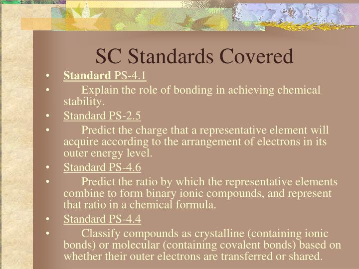 Sc standards covered