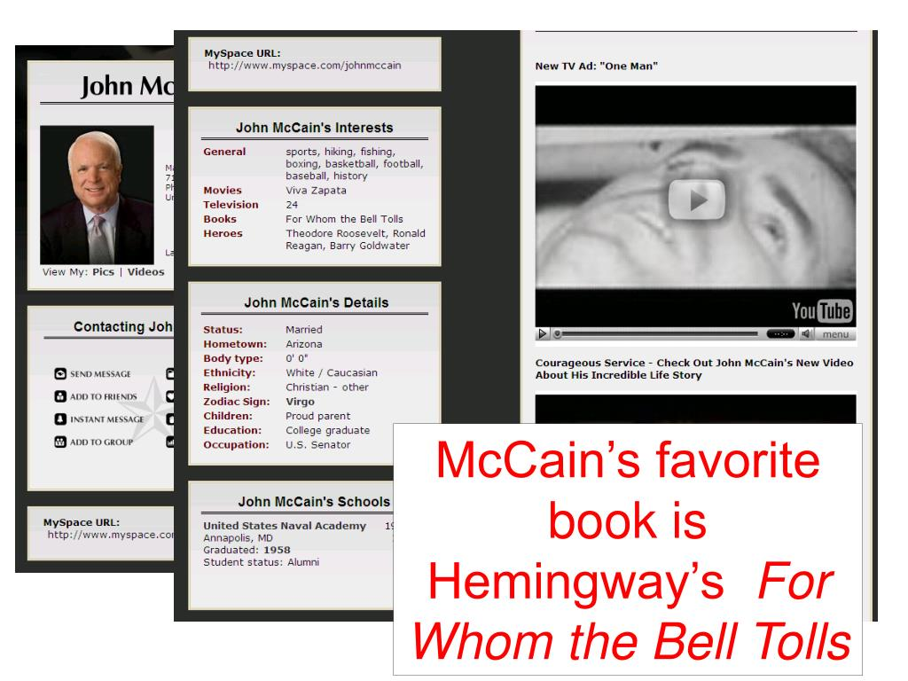 McCain's favorite book is Hemingway's