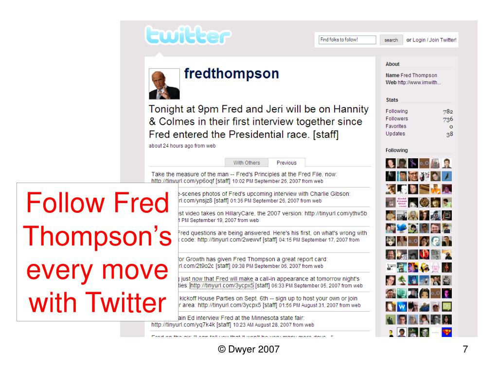 Follow Fred Thompson's every move with Twitter