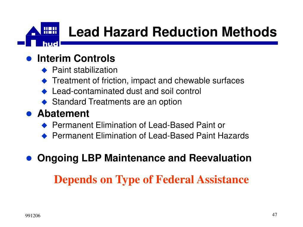 Lead Hazard Reduction Methods