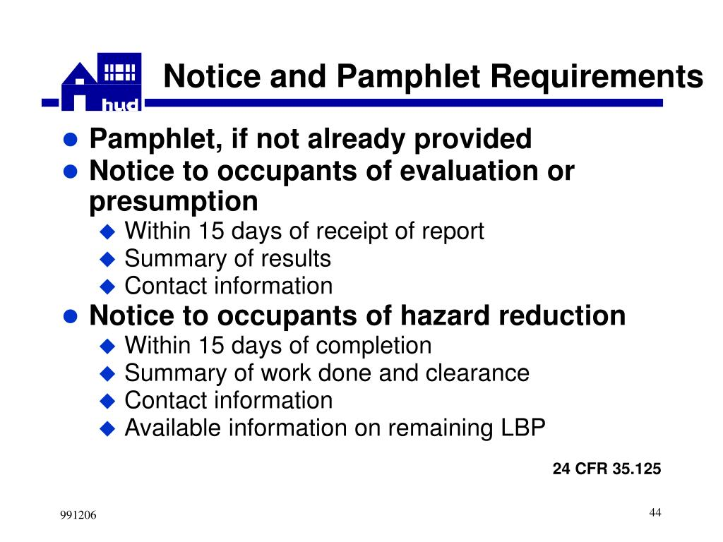 Notice and Pamphlet Requirements