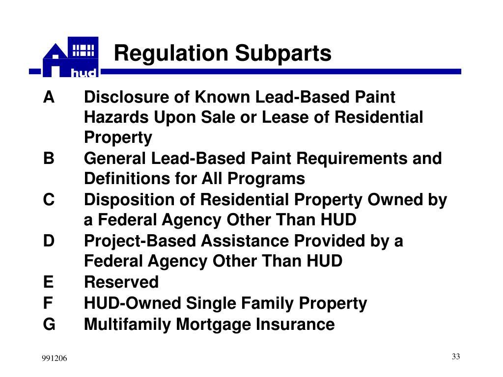 Regulation Subparts