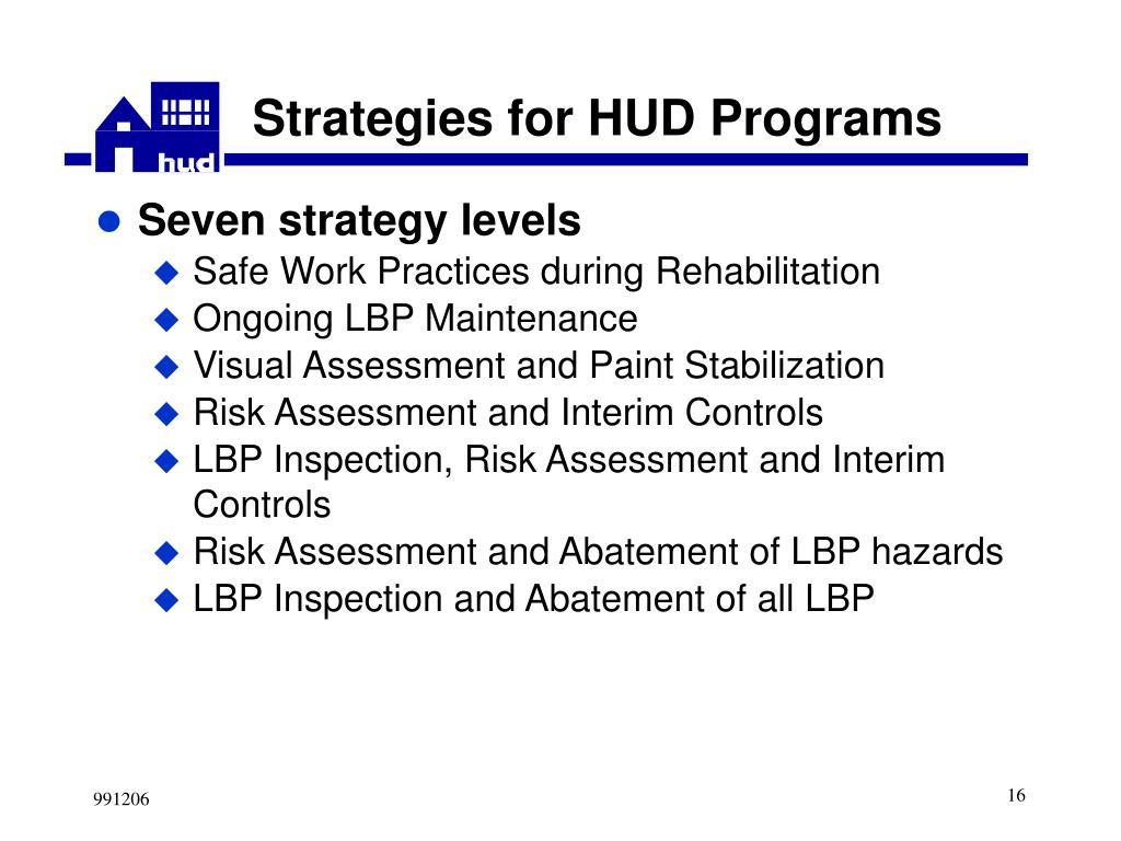 Strategies for HUD Programs