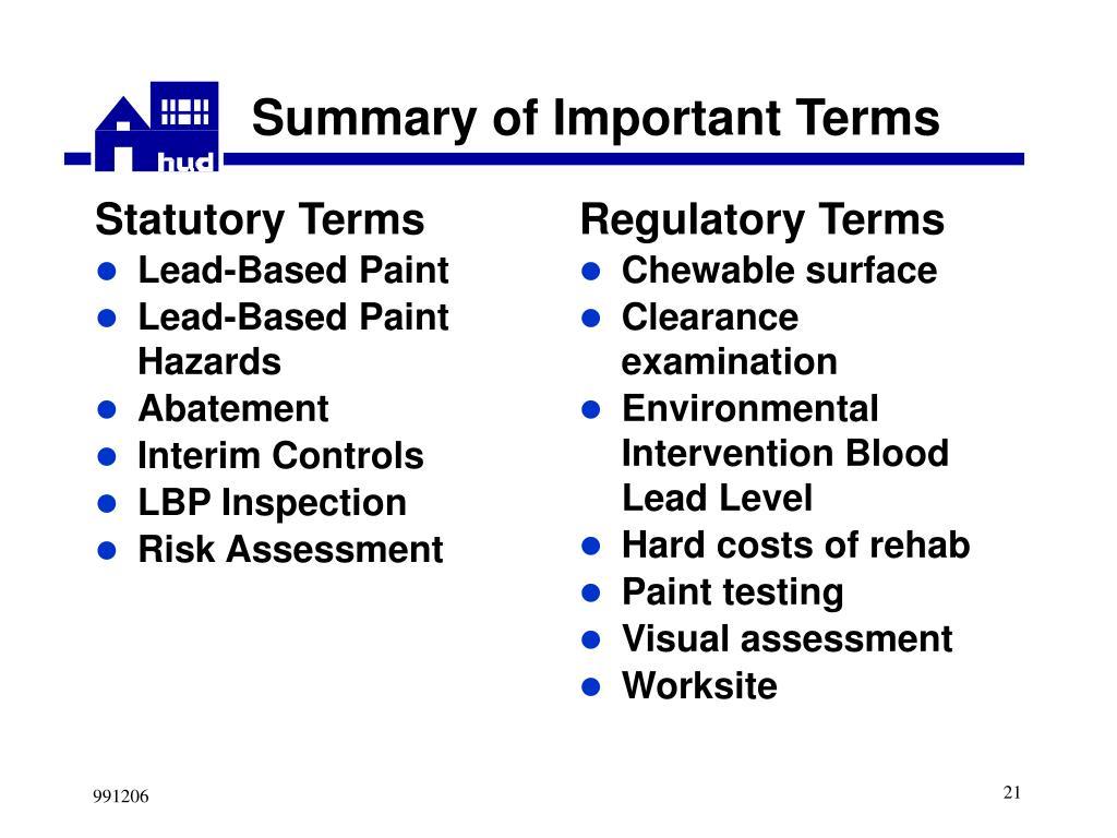 Statutory Terms