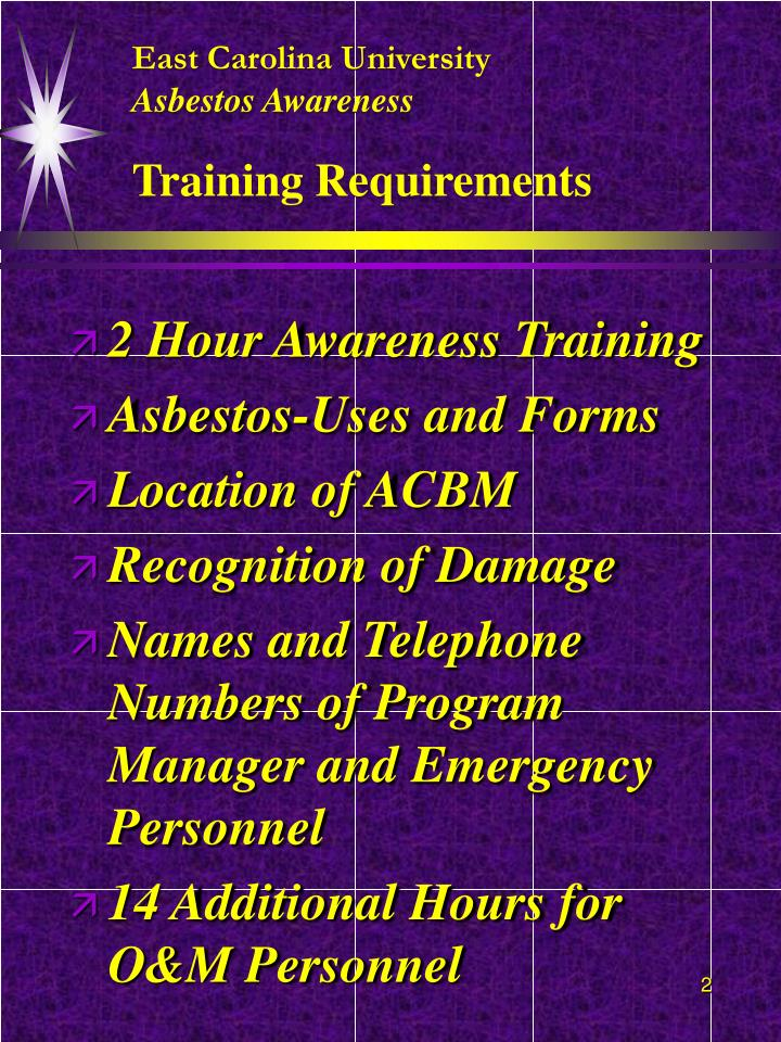 East carolina university asbestos awareness training requirements l.jpg