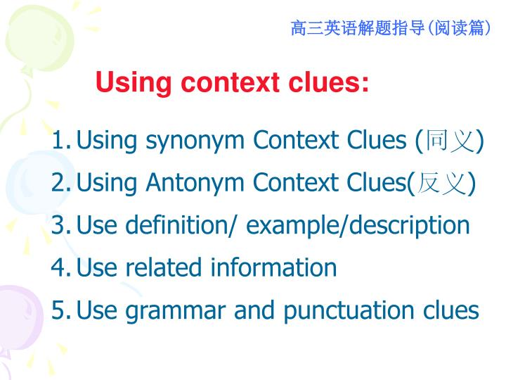 Using context clues: