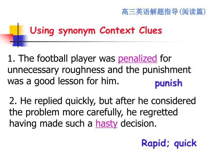 Using synonym Context Clues