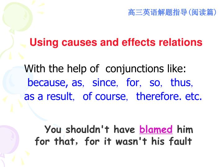 Using causes and effects relations