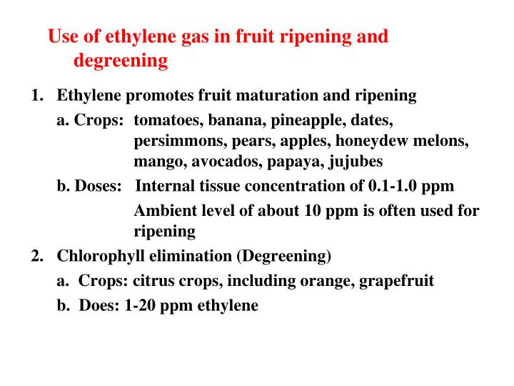 Use of ethylene gas in fruit ripening and