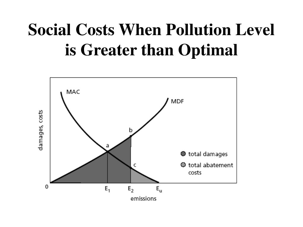 Social Costs When Pollution Level is Greater than Optimal