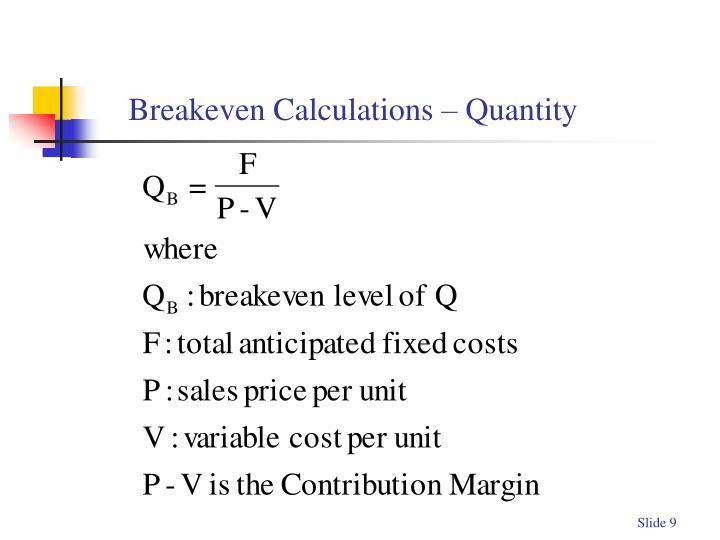 Breakeven Calculations – Quantity