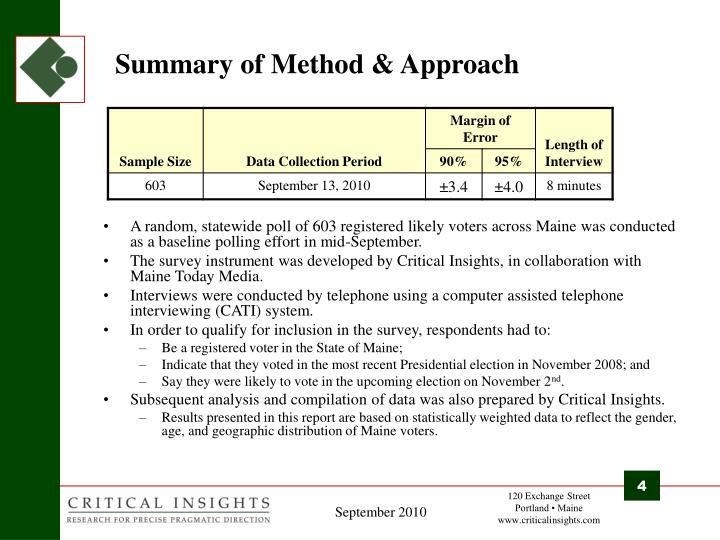Summary of Method & Approach