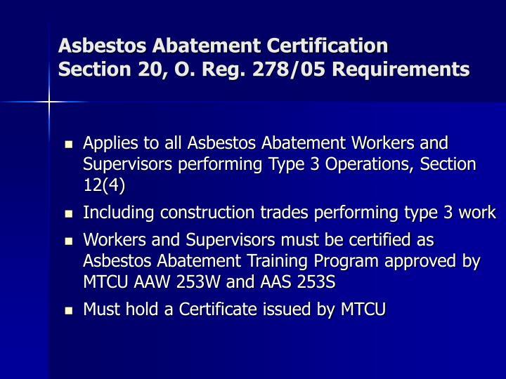 Asbestos Abatement Certification
