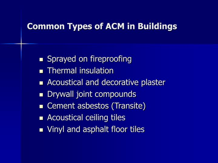 Common Types of ACM in Buildings