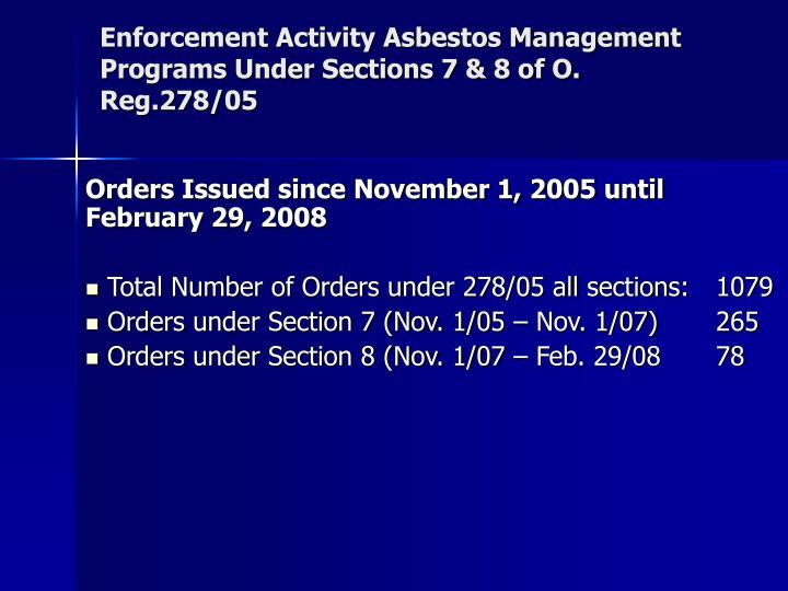 Enforcement Activity Asbestos Management Programs Under Sections 7 & 8 of O. Reg.278/05