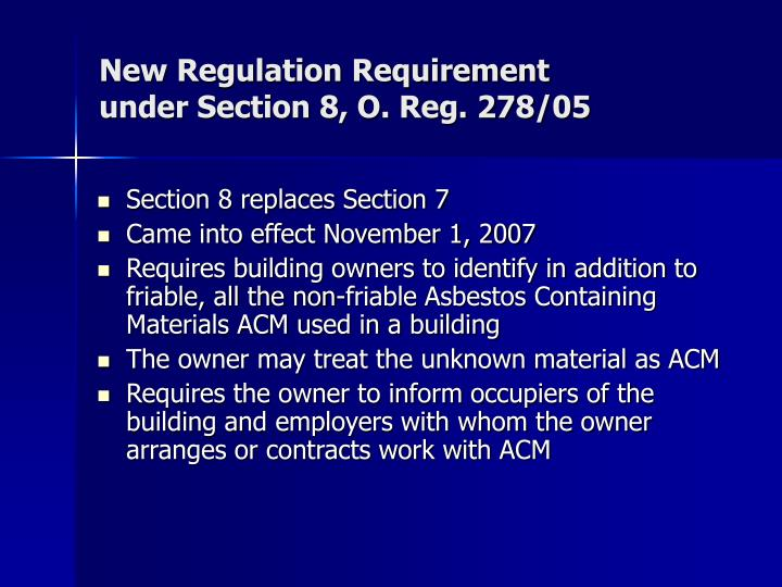New Regulation Requirement