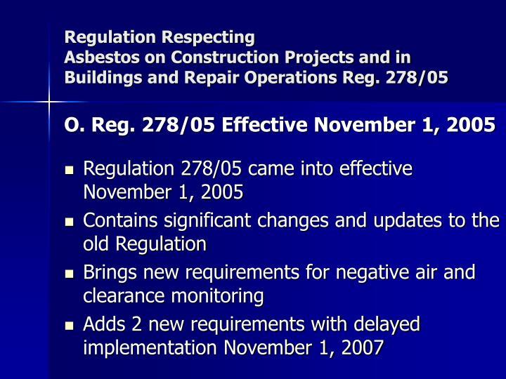 Regulation Respecting