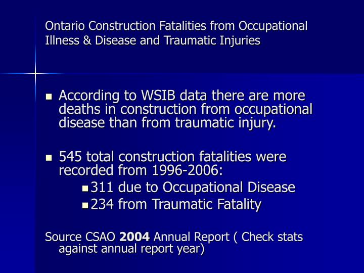 Ontario Construction Fatalities from Occupational Illness & Disease and Traumatic Injuries