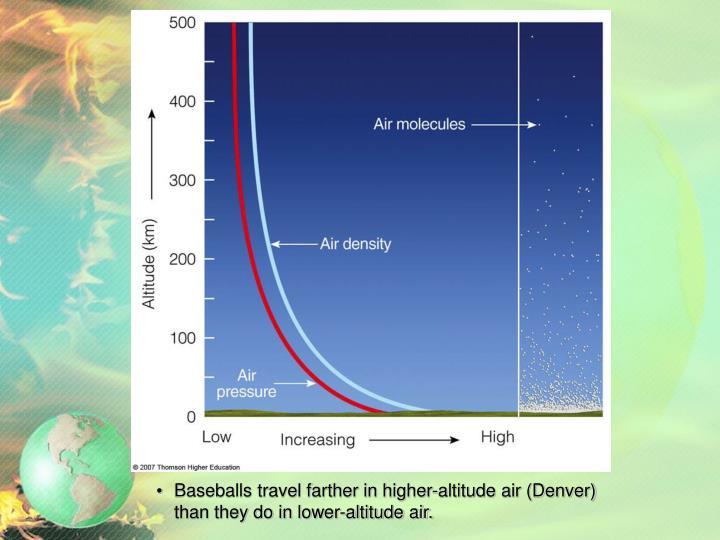 Baseballs travel farther in higher-altitude air (Denver)