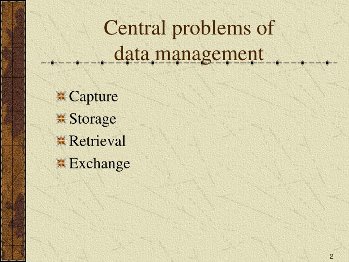 Central problems of data management