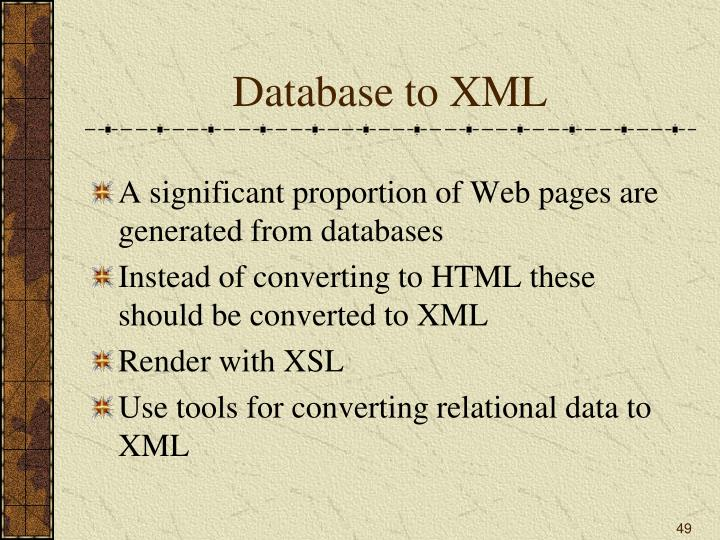 Database to XML