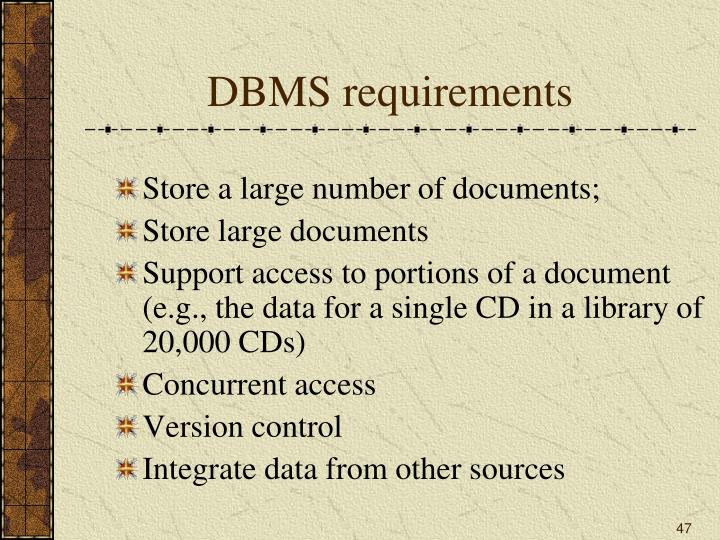 DBMS requirements