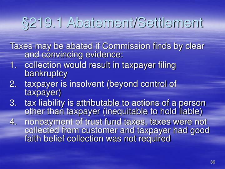 §219.1 Abatement/Settlement