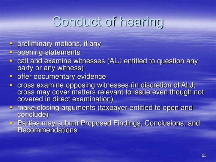 Conduct of hearing