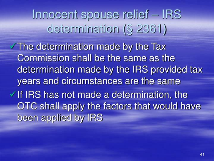 Innocent spouse relief – IRS determination (