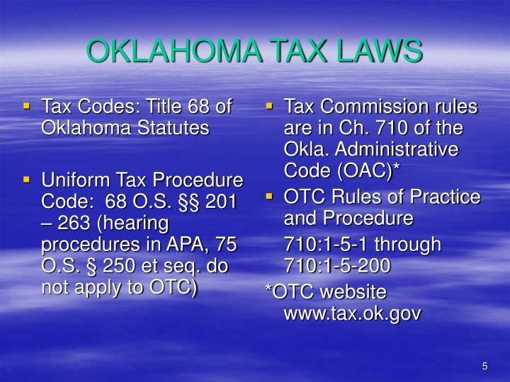 Tax Codes: Title 68 of Oklahoma Statutes