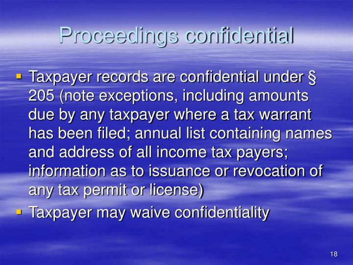Proceedings confidential