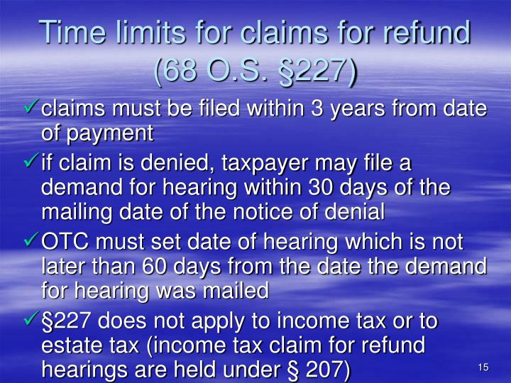 Time limits for claims for refund (68 O.S.