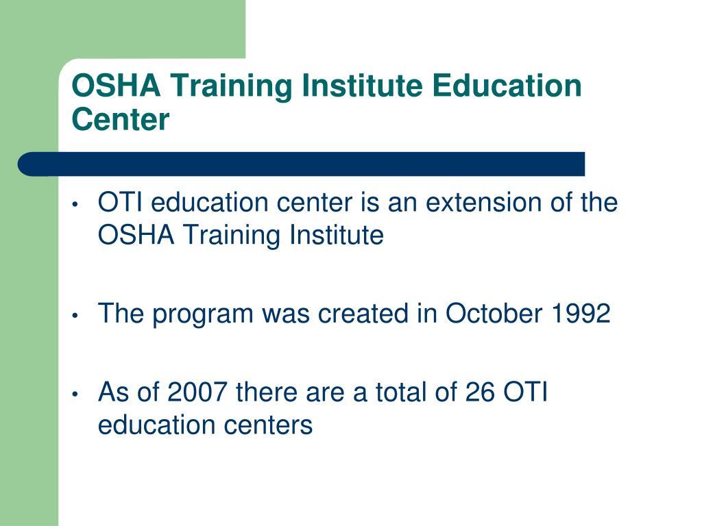 OSHA Training Institute Education Center