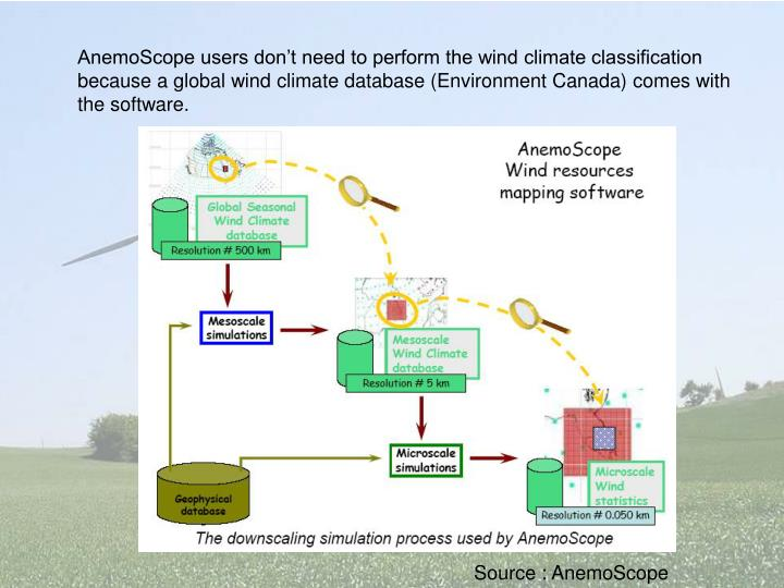 AnemoScope users don't need to perform the wind climate classification because a global wind climate database (Environment Canada) comes with the software.