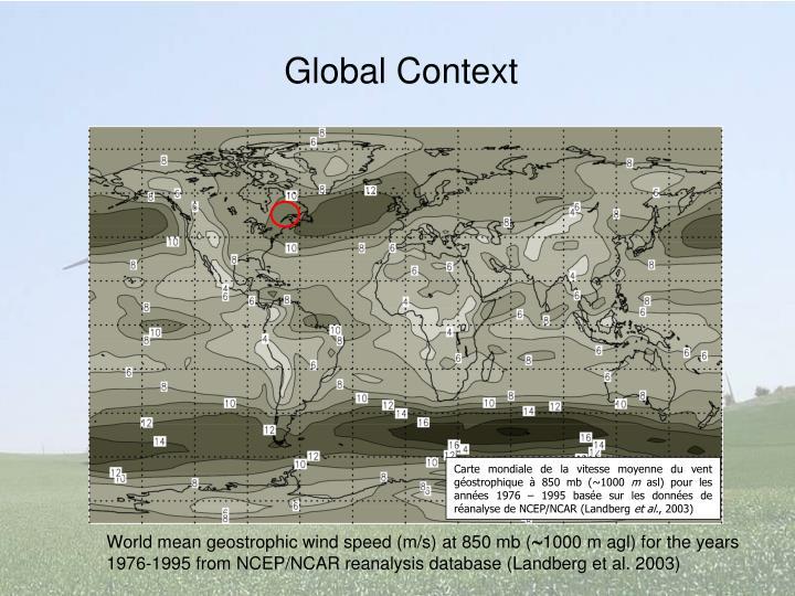 Carte mondiale de la vitesse moyenne du vent géostrophique à 850 mb (~1000