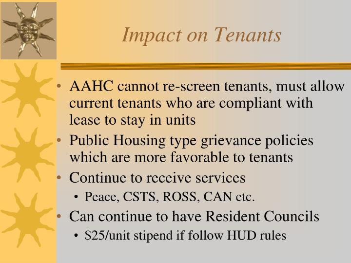 Impact on Tenants